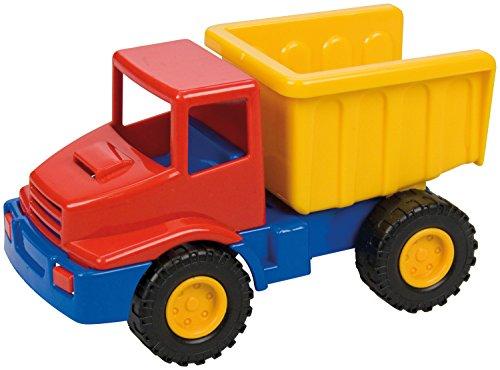 Lena 01220 Mini Compact Muldenkipper, bouwplaatsvoertuig, ca. 12 cm lang, klein speelvoertuig, vrachtwagenkipper voor kinderen vanaf 2 jaar, robuuste kantellaster voor zandbak, strand en kinderkamer.