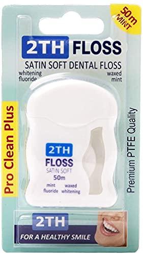 2TH Floss Hilo Dental Extra Suave y Resitente. Con Cera Blanqueadora y un Fresco Sabor a Menta, para unos Dientes y Encías limpios y Sanos. Rollo Económico de 50 Metros