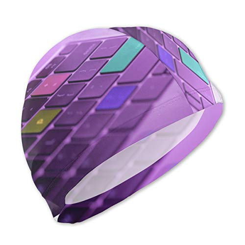 NA Swim Cap Kids Soft and Comfortable Soft and Comfortable Personalized Customization Colorful Laptop Keys for Girls Boys Teens Children Size S