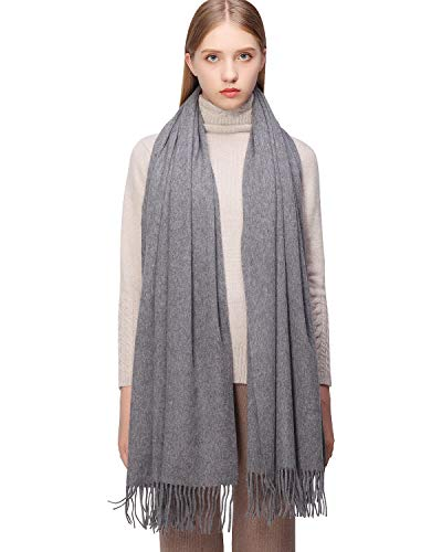 100% Cashmere Scarf Pashmina Shawls and Wraps for Women Warm Winter More Thicker Soft Scarves Grey
