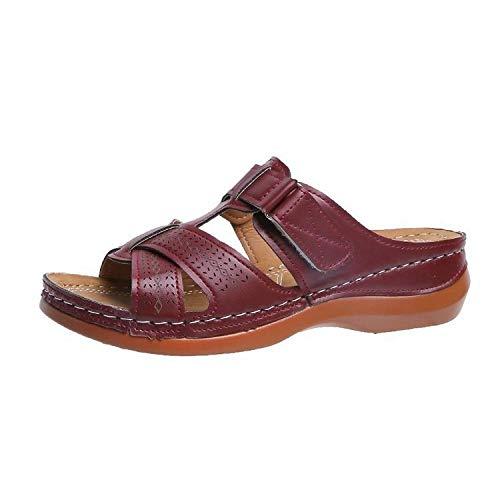 TDYSDYN Suave Bañarse Chanclas,Zapatillas de Mujer con cuña Retro, Sandalias y Zapatillas de Mujer Ligeras-Vino Tinto_35,Zapatillas Antideslizantes Libre Baño