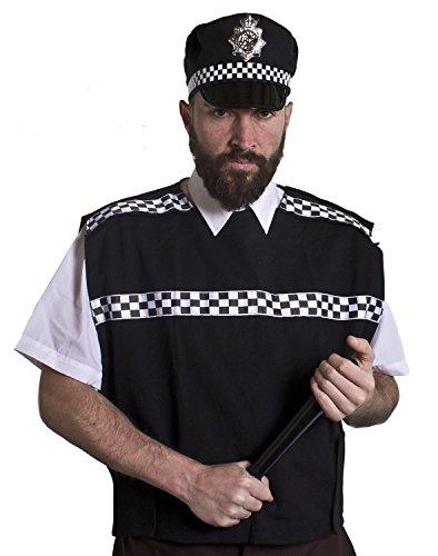 I LOVE FANCY DRESS LTD Déguisement de Policier avec Cette Veste sans Manche Noire avec Motifs en Damier Noir et Blanc pour Adulte. Ideal pour Les enterrements de Vie de garçon. ( Standard )
