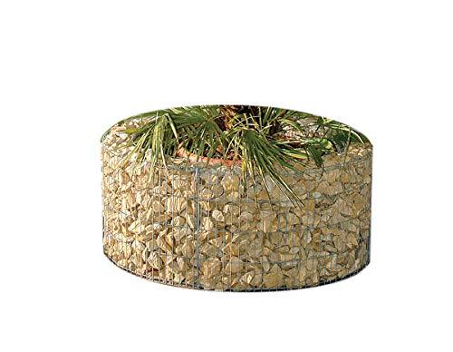 bellissa Hochbeet Gabione rund - Durchmesser 92/72 cm, Höhe 40 cm - Steinkorb-Pflanzkübel