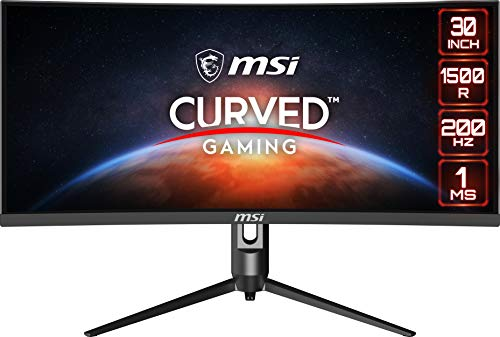 """MSI Full HD Non-Glare 1ms 2560 x 1080 Ultra Wide 200Hz Refresh Rate HDR Ready USB/DP/HDMI Smart Headset Hanger FreeSync 30""""Gaming Curved Monitor (Optix MAG301CR2) - Black"""