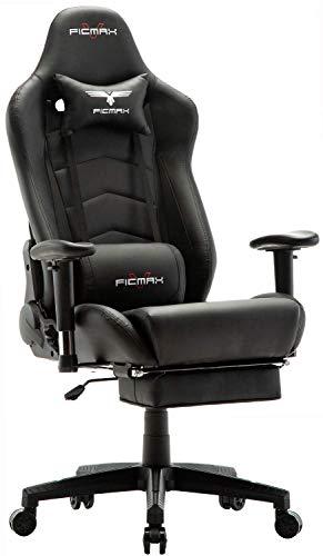 Ficmax Gaming stühle Ergonomischer Computer Spielstuhl Racing Stil E-Sports Stuhl mit Massage Lordosenstütze, PU Leder Reclining Computerstühle, Gamer Stühle mit Ausziehbarem Fußraste (schwarz)