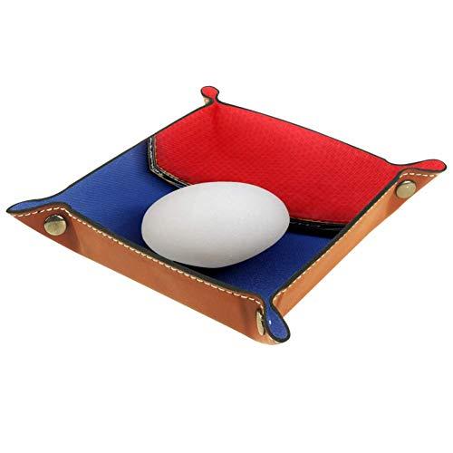 Bennigiry Valet Tablett Tischtennis-Druck, Leder-Schmucktablett Organizer Box für Geldbörse, Uhren, Schlüssel, Münzen, Handys und Bürogeräte, Multi, 16 x 16 cm