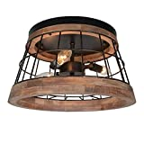 Baiwaiz Round Farmhouse Ceiling Lighting Fixture, Metal and Wood Rustic Ceiling Flush Mount Lights Industrial Wire Cage Lighting 3 Lights Edison E12 087