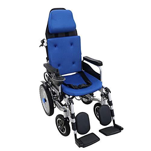 フルリクライニング電動車椅子 青 PSE適合 TAISコード取得済 折りたたみ ノーパンクタイヤ 自走介助兼用 リクライニング電動車椅子 電動 手動 充電 電動ユニット 電動アシスト 電動カート 折り畳み 車椅子 車イス 車いす リクライニング 介護 福祉