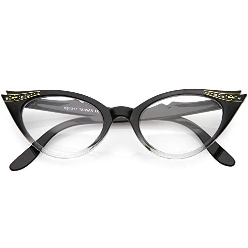 Vintage Cateyes 80s Inspired Fashion Clear Lens Cat Eye Glasses with Rhinestones (Black-Fade)