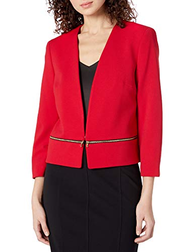 NINE WEST Women's V Neck Crepe Zipper Pocket Cardigan, fire red, 8