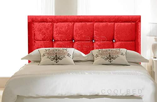 CRUSHED VELVET 26' VENICE HEADBOARD FOR DIVAN BED BASE (Red, 2FT6 - SMALL SINGLE)