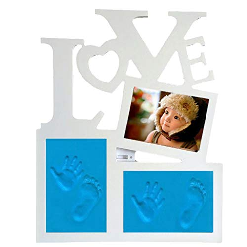 FLAMEER Baby gipsavtryckssats med 3 st. lera 1 x kavel 1 x bruksanvisning 1 x fotoram 1 x tillbehör 1 x fotoram bas – blå ton