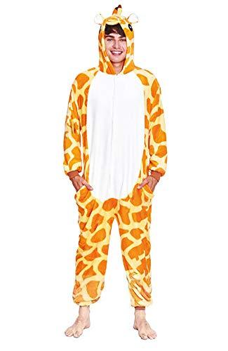 H HANSEL HOME Pijama Animal Jirafa Mujer Hombre Adulto Unisexo Disfraces Animal Carnaval Halloween Cosplay Cómodo Suave - M