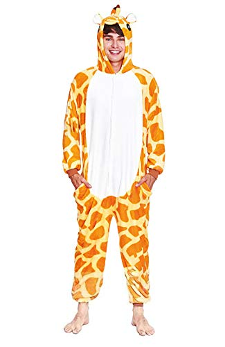 H HANSEL HOME Pijama Animal Jirafa Mujer Hombre Adulto Unisexo Disfraces Animal Carnaval Halloween Cosplay Cómodo Suave - L