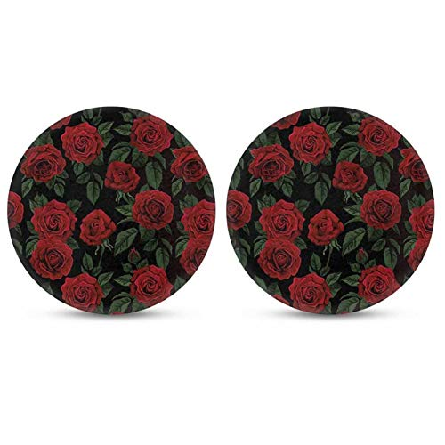 Snilety 2pcs Set Red Rose Printed Coasters for Drinks Cup Coaster Rubber Car Cup Pad Mat Car Accessories for Car Living Room Kitchen Office to Protect Car and Furniture