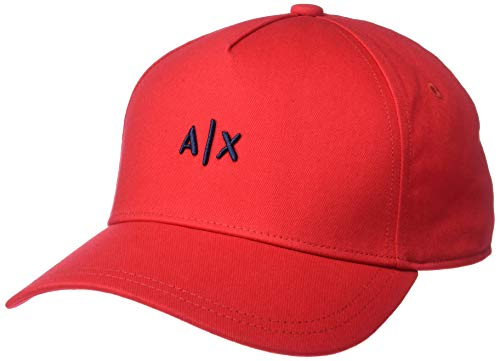 Armani Exchange A X Herren Classic Small Logo Embroidery Hat Baseballkappe, Rot/Marineblau, Einheitsgröße