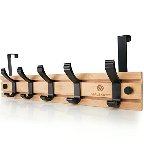 ® Perchero para puerta de madera (bambú), 5 ganchos ajustables, ideal también como perchero de pared, grosor del pliegue de la puerta: hasta 2 cm