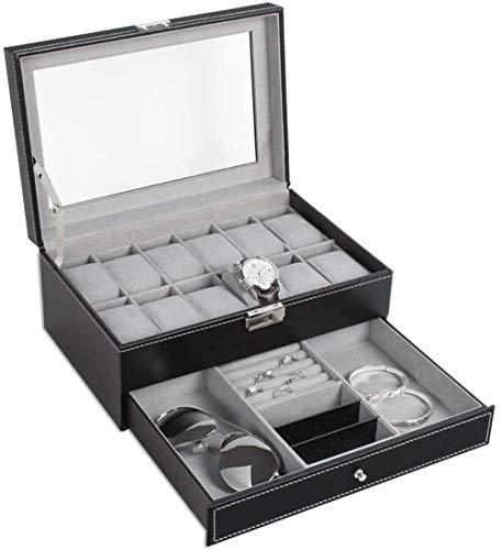 Caja de reloj de 2 capas, caja de almacenamiento de relojes con tapa de cristal y brazalete de pulsera, bandeja de 12 rejillas de cuero