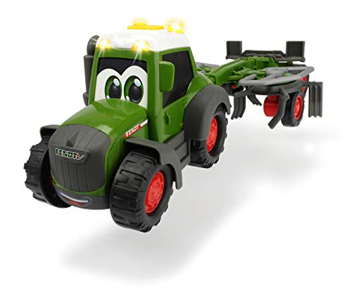 Dickie Toys 203815002 Happy Fendt Tedder Tractor con Remolque de heno para niños a Partir de 1 año, Tractor, Granja, Tractor, Tractor, Tractor, Tractor y Sonido, 30 cm