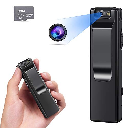 KOPUO Mini Body Camera, Wireless 1080P Security Wearable Body Camera Motion Activated Indoor Outdoor Small Nanny Cam for Cars Home Apartment (with 32G high-Speed Memory Card)