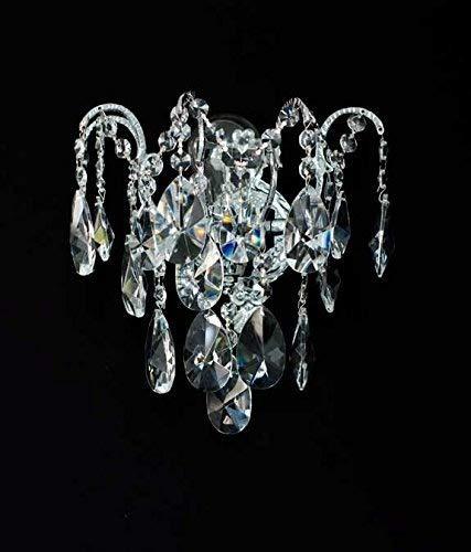 NEUERRAUM Kristall Wandlampe Wand Kronleuchter solides Metal echtes Kristall. Abbildung in Silberfarben.