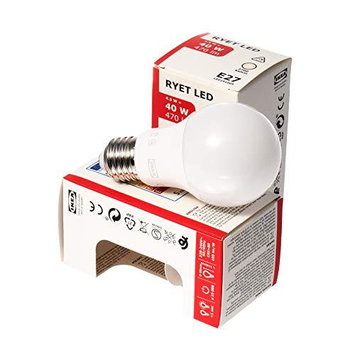 Ikea RYET E27 LED Globe Bulbs, 470 Lumen, 4.5W, Warm White, Opal, Set of 2