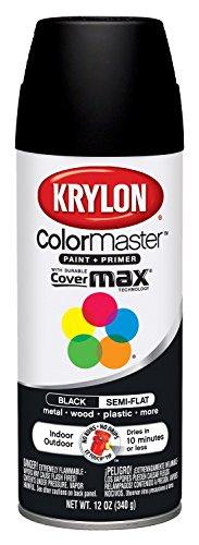 Krylon 53565 Black 12oz K05356507 ColorMaster Paint + Primer, Semi-Flat, 12 oz