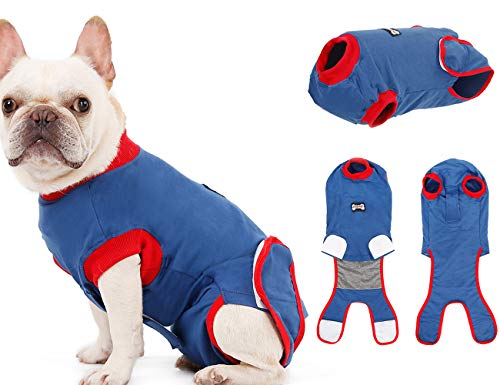 Tineer Dog Recovery Suit - Pure Cotton E Collar Alternative for Male/Female Dogs, Protect Puppy Wounds After Surgery Pet Wear - Prevent Licking, Bite, and Other Pet 's Harassment (L)
