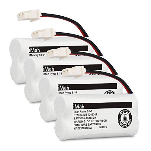 iMah Ryme B1-3 BT162342 BT262342 Cordless Phone Batteries, Compatible with AT&T CL81101 EL5210 EL52400 VTech CS6409 CS6419 CS6429 CS80100 Handset Telephone, Pack of 4