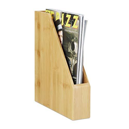 Relaxdays Stehsammler Bambus, A4, Natürlich schöne Maserung, Modern, Papieraufbewahrung, Zeitschriften, Blöcke, Natur
