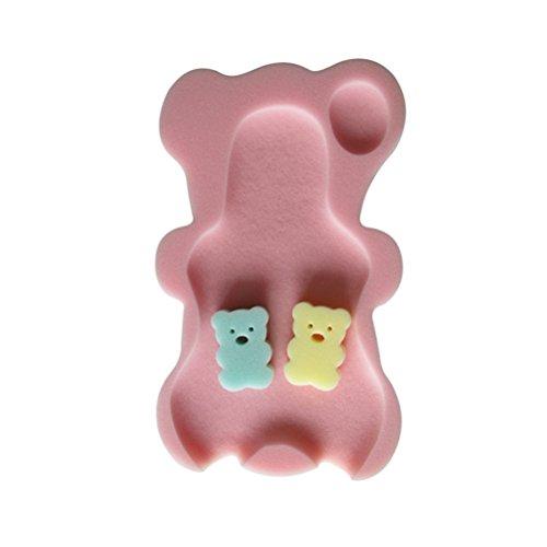 Asiento de esponja de bebé para bañeras de YeahiBaby. Alfombrilla antideslizante y esponjas de baño. Color rosa