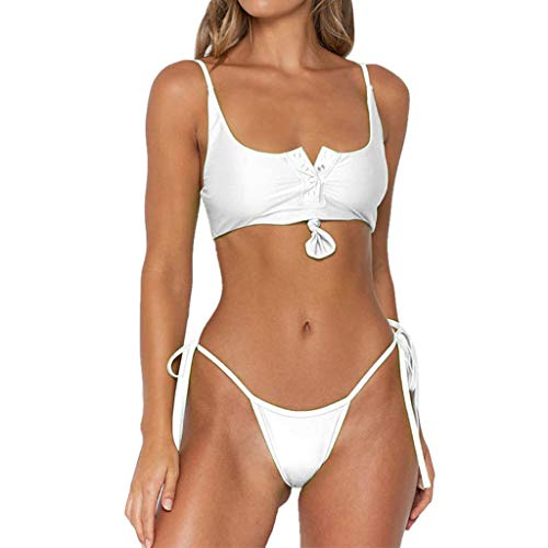 WOZOW Damen Bademode Solid Taste Knoten Zweiteilig Bikini Neckholder Nackenträger BH Seitlich Gebunden T-String Tanga Frauen Schwimmanzug (M,Sahne)