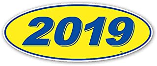 Donkey Auto Products Oval Model Year Window Stickers (Blue Numbers on Yellow) (12 Per Pack) (2019)