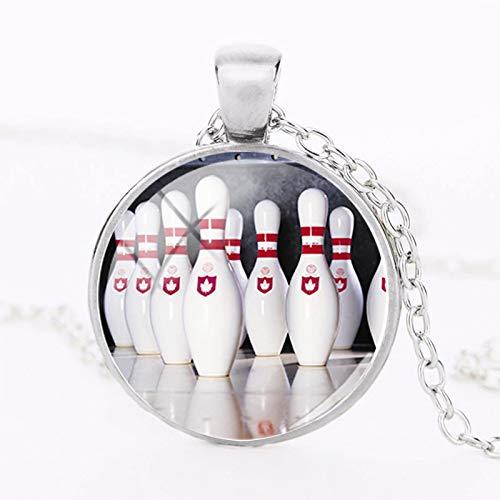 Foto-Anhänger Strike Bowling Halskette handgefertigt Schmuck rund Glaskuppel Foto Anhänger Halsketten