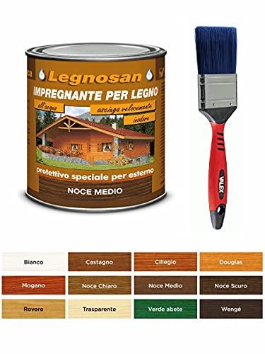 IMPREGNANTE PROTETTIVO PER LEGNO VELECA LEGNOSAN ML.750 ALL' ACQUA INODORE + PENNELLO...