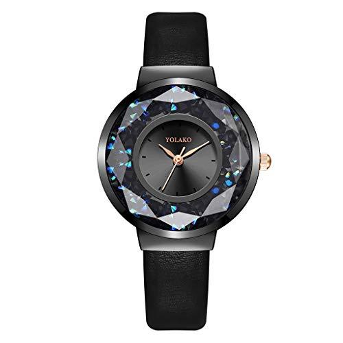 FBGood Modische Armbanduhr für Damen - Armbanduhr, Damenuhren, minimalistisch, wasserdicht, Lederarmband, elegant, modisch, analog, für Damen und Mädchen Schwarz