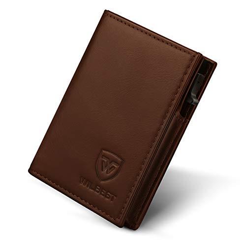 wilbest® Kreditkartenetui, Hochwertiges Leder Kartenetui Mini-Geldbörse RFID Schutz für Bis zu 9 Karten Portemonnaie, Card Wallet, 1 mattierter Box, Slim Wallet Herren und Damen, Geschenkbox (Braun)