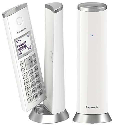 Panasonic KX-TGK212 - Teléfono fijo inalámbrico de diseño Dúo (LCD, identificador de llamadas, agenda de 50 números, bloqueo de llamada, modo ECO), Blanco,TGK21 Duo