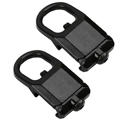 Agus QD Picatinny Rail Buckle Sling Metal Hook Mount Plate Adapter Attachment 20mm Weaver Rail-Black Outdoors Hunting Accessories, 2 Pack