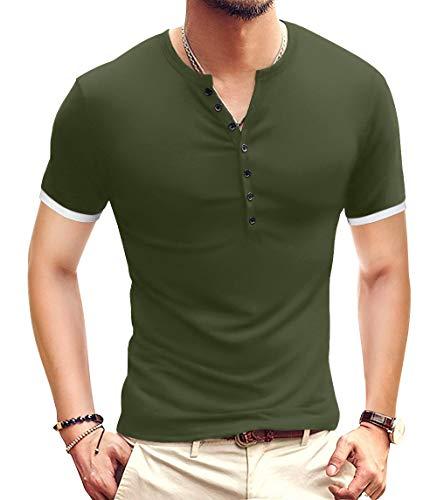 YTD Mens Casual Slim Fit Basic Henley Short Sleeve Fashion Summer T-Shirt M Army Green