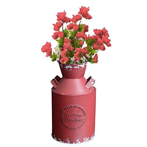 HOGAR Y MAS Lechera/Macetero Decorativo Vintage Rojo de Metal Healing Garden 14X10X25 cm
