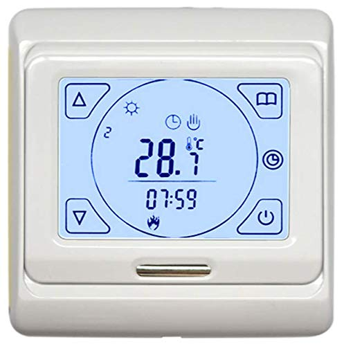 Digital Thermostat THS-716 mit Touchscreen für elektrische Heizungen, Fußbodenheizung, Infrarotheizung | Programmierbares Wandthermostat Unterputz 230VAC 50Hz 16A mit Tages-/Wochenprogramm