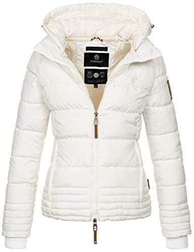 Marikoo Designer Damen Winter Jacke Steppjacke Winterjacke Stepp gesteppt B668 [B668-Sol-Weiß-Gr.M]