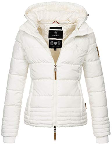 Marikoo Designer Damen Winter Jacke Steppjacke Winterjacke Stepp gesteppt B668 [B668-Sol-Weiß-Gr.S]