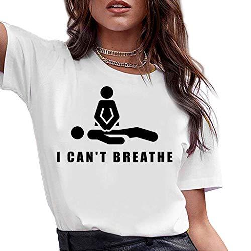 ZXMDP I Cant Breathe Ropa Deportiva de Moda Cuello Redondo de algodón de Manga Corta Camiseta con Estampado alfabético de Mujer Materia Negra Tops de Vida al por Mayor Blanco S-3XL