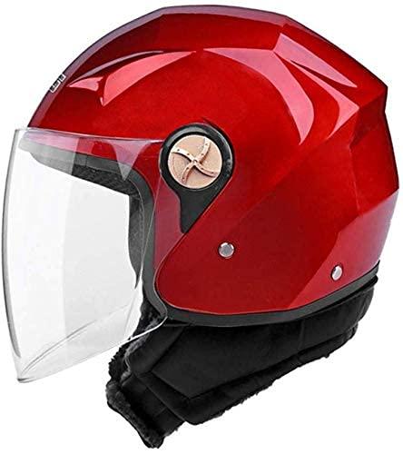 LAMZH Casco portátil Casco de Motocicleta eléctrico para Hombres y Mujeres Cuatro Temporadas Universal Desmontable Babero Anti-Niebla Casco, Sub-Negro, 33 * 24 * 22 cm,Proteccion