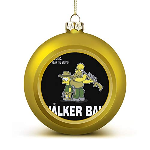 The Walker Bait Walking Dead Rick and Carl Grimes Homer and Bart Simpson Christmas Ball Ornaments Anti-Drop, Plastic Ornaments Christmas Balls, Various Holiday Party Decorations