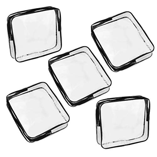 DOITOOL 5pcs Transparent Cosmetic Bags, Multifunctional Storage Bags, Toiletry Container, Travel Waterproof Toiletry Bag for Women