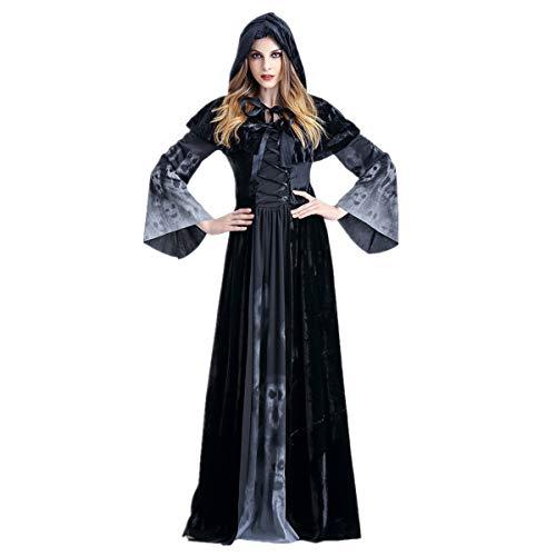 Dreamworldeu Disfraz de bruja de lujo con capucha para mujer, vestido largo con cráneo impreso, para carnaval, Halloween, negro, 38 (XL)