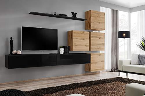 all4all Wohnwand Hochglanz TV Board Anbauwand Schrankwand Fernsehwand Wohnzimmerset Lowboard Kleine Wohnwand Fernsehschrank TV Lowboard Weiß Schwarz Grau Wotan SW 9 (Schwarz - Wotan - Makat)